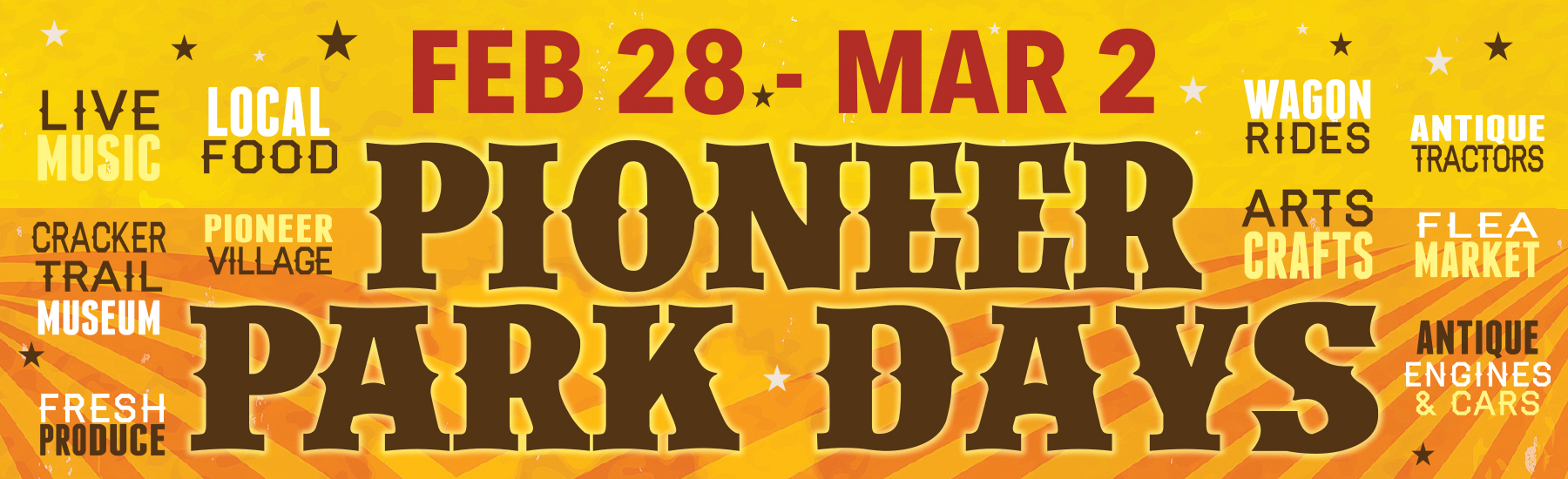 Pioneer Park Days, FEB 28 - MAR 2, Save The Date