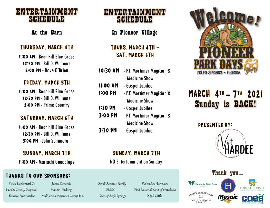 Pioneer Park Days Event Schedule